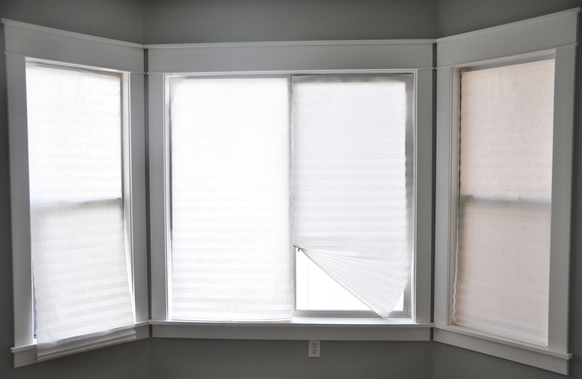 Six-year-old temporary blinds