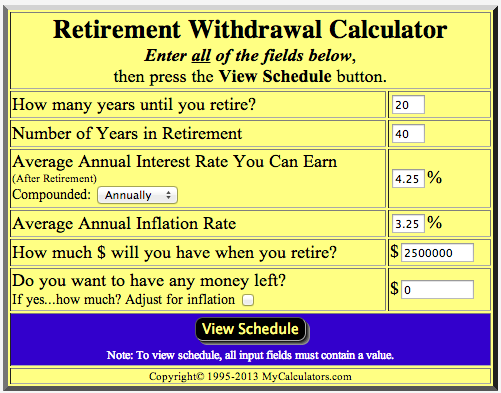 The Numbers I Need To Hit If I Want To Draw $40,000 Per In 2013 Dollars,  Starting In 2033, And Lasting For 40 Years. Retirement Withdrawal Calculator  Here.