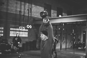 A 70lb kettle bell over my head!