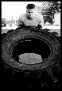 A big tire being flipped!