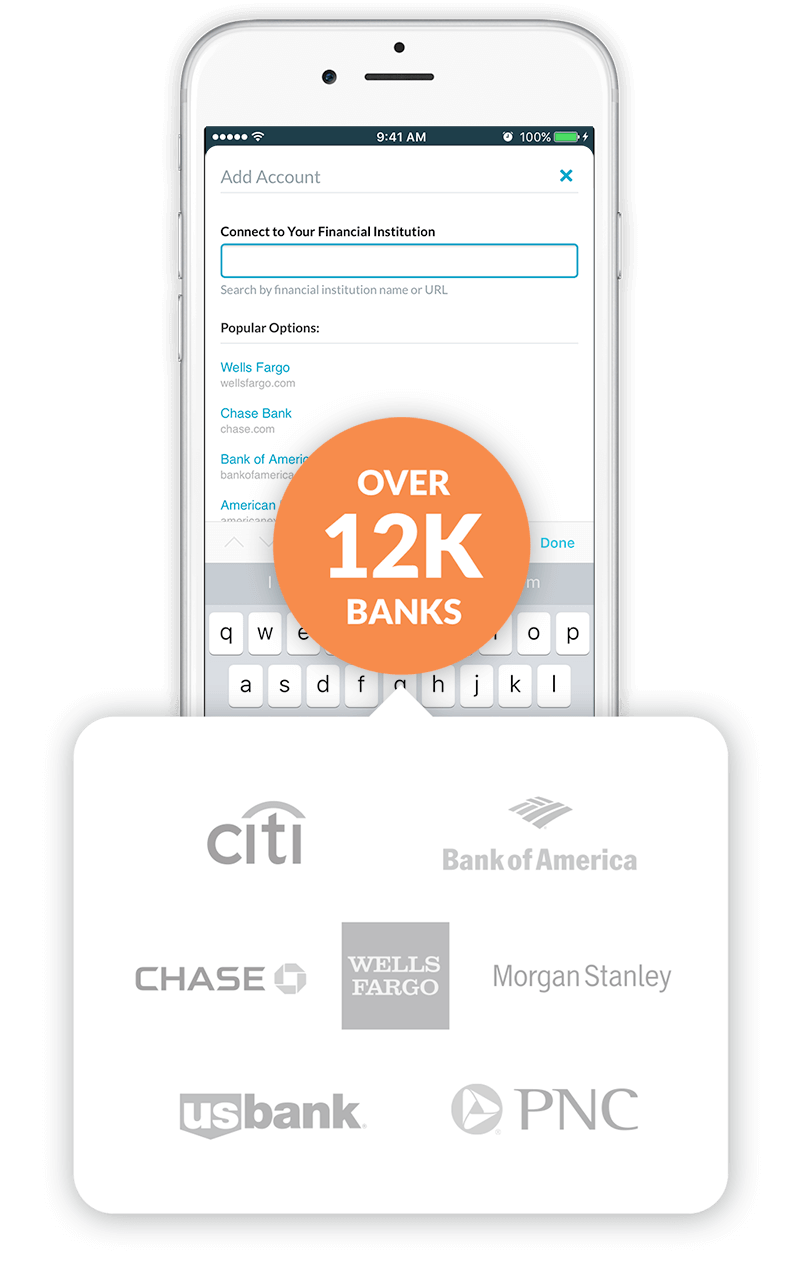 Import from over 12,000 banks on your phone