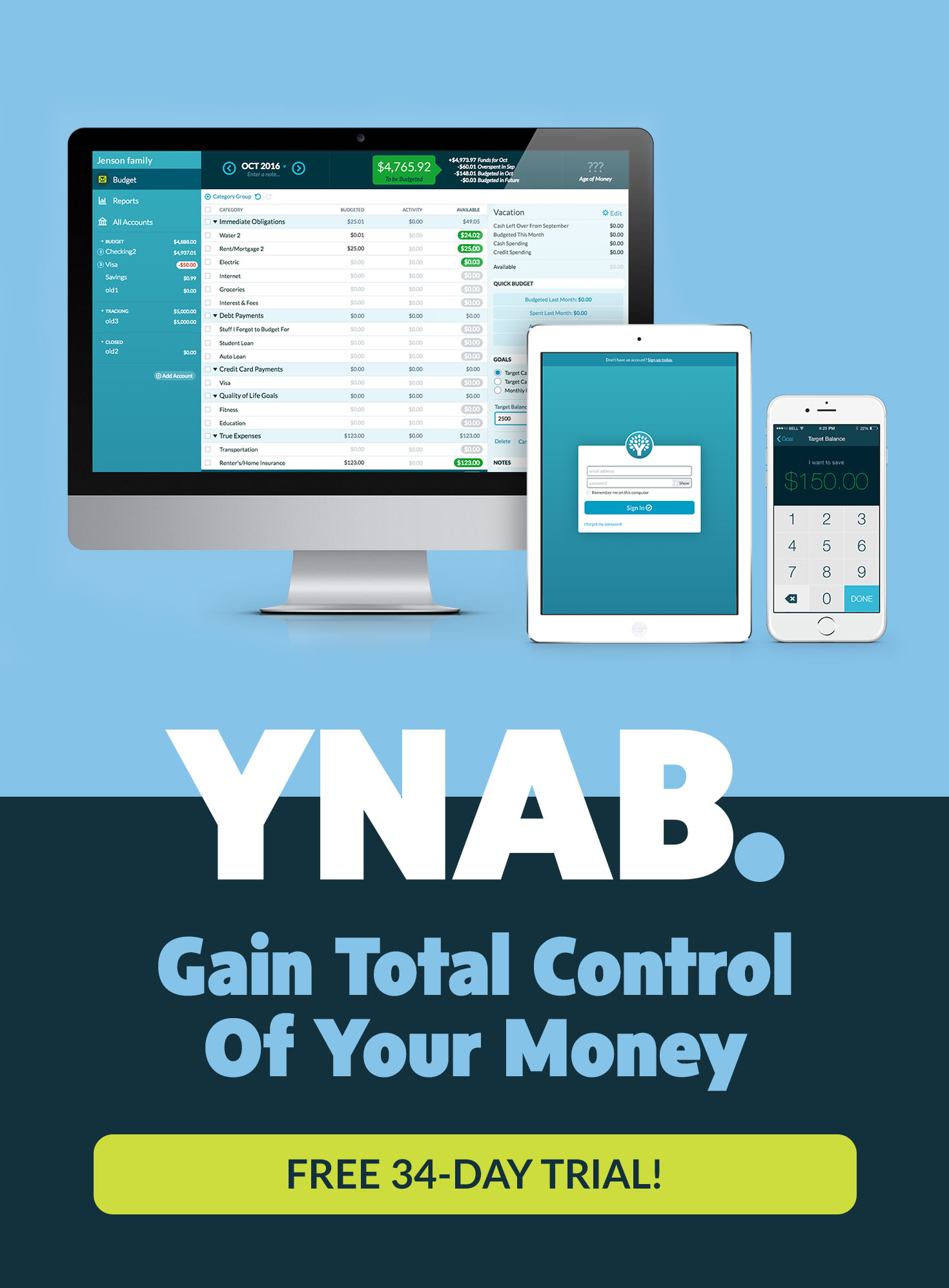 YNAB | Gain Total Control of Your Money. Stop living paycheck to paycheck, get out of debt, and save more money.
