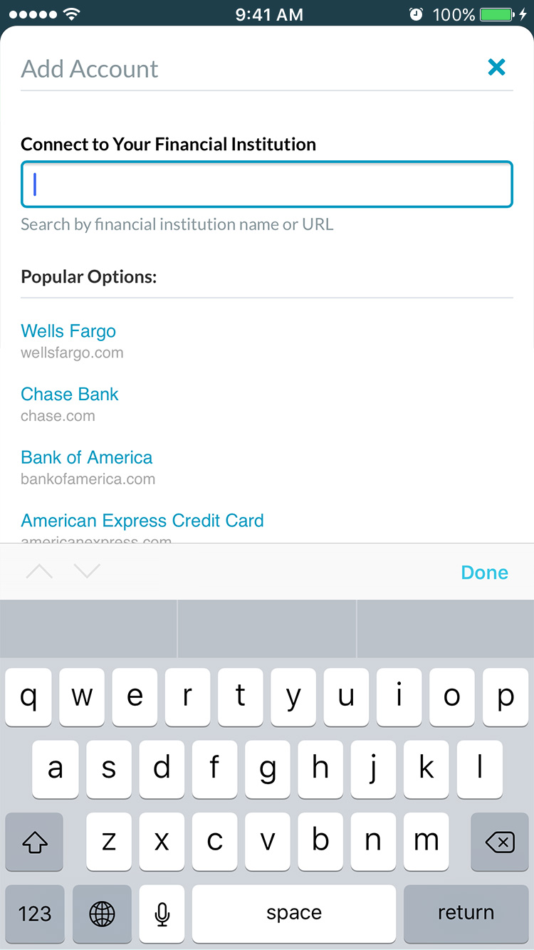 Search and connect to your bank and credit card accounts with YNAB