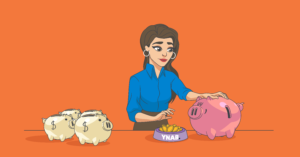 A woman moves money from multiple piggy bank to one piggy bank.