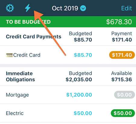 Quick Budget Lightning Bolt YNAB Mobile