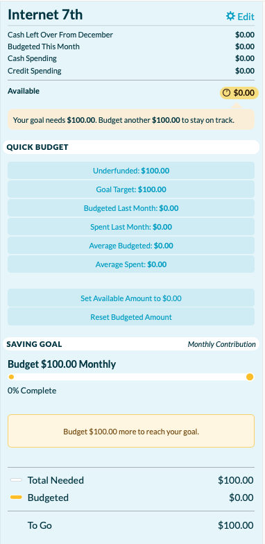 How to create a budget template in YNAB: monthly contribution goals