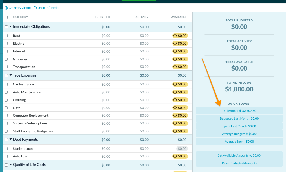 How to create a budget template in YNAB: underfunded goals