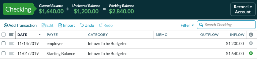 How to create a budget template in YNAB: entering paycheck