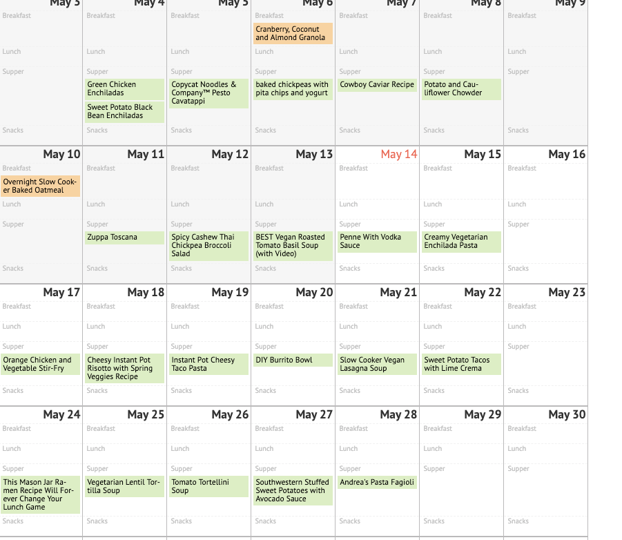 Here's an example of what a typical month of meals might look like.