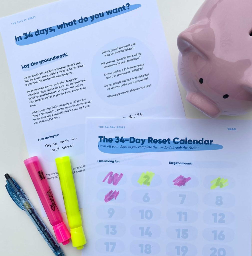 34 Day reset workbook calendar
