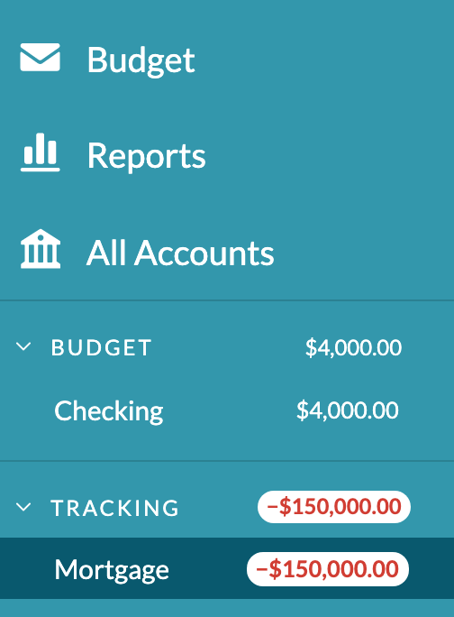 See your mortgage as a tracked account in YNAB