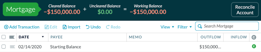 In YNAB, there is no category column in tracking accounts
