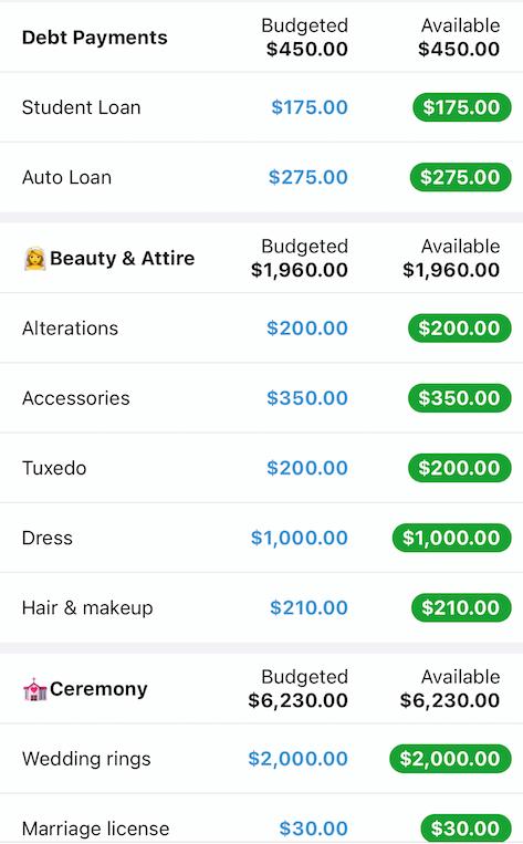 Identifique fácilmente los gastos de la boda en su presupuesto existente agregando emojis al nombre de la categoría.