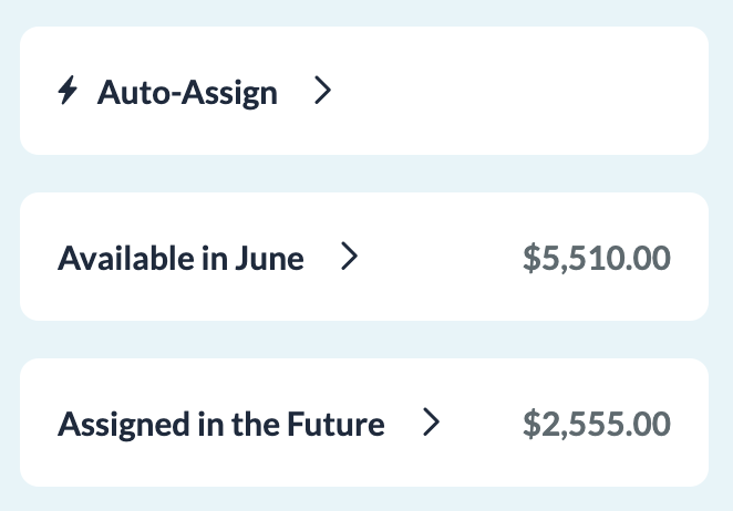 YNAB shows there's $2,555 pushed out for next month. So close!