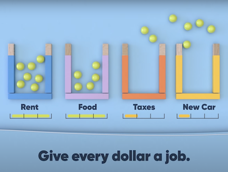 Put all of your money into imaginary envelopes by assigning each dollar to a specific category.