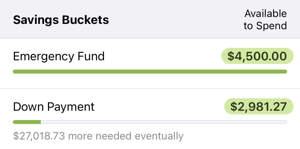 We reprioritized money right away to get a nice head start on our down payment (shown in our YNAB budget).