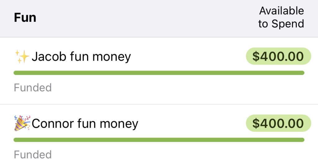We significantly increased the amounts in our monthly fun money categories (show in our YNAB budget)