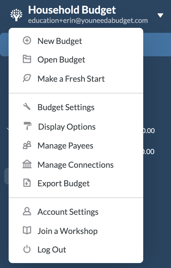 Starting a new budget is as easy as pushing a button.