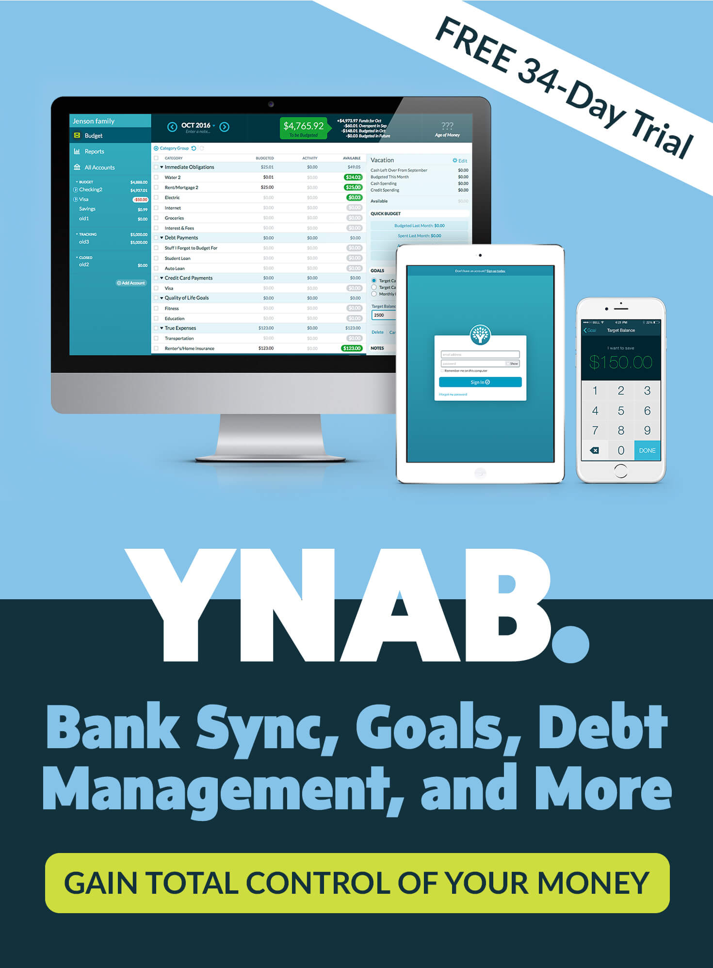 YNAB. Bank Sync, Goals, Debt Management, and More. Gain Total Control of Your Money
