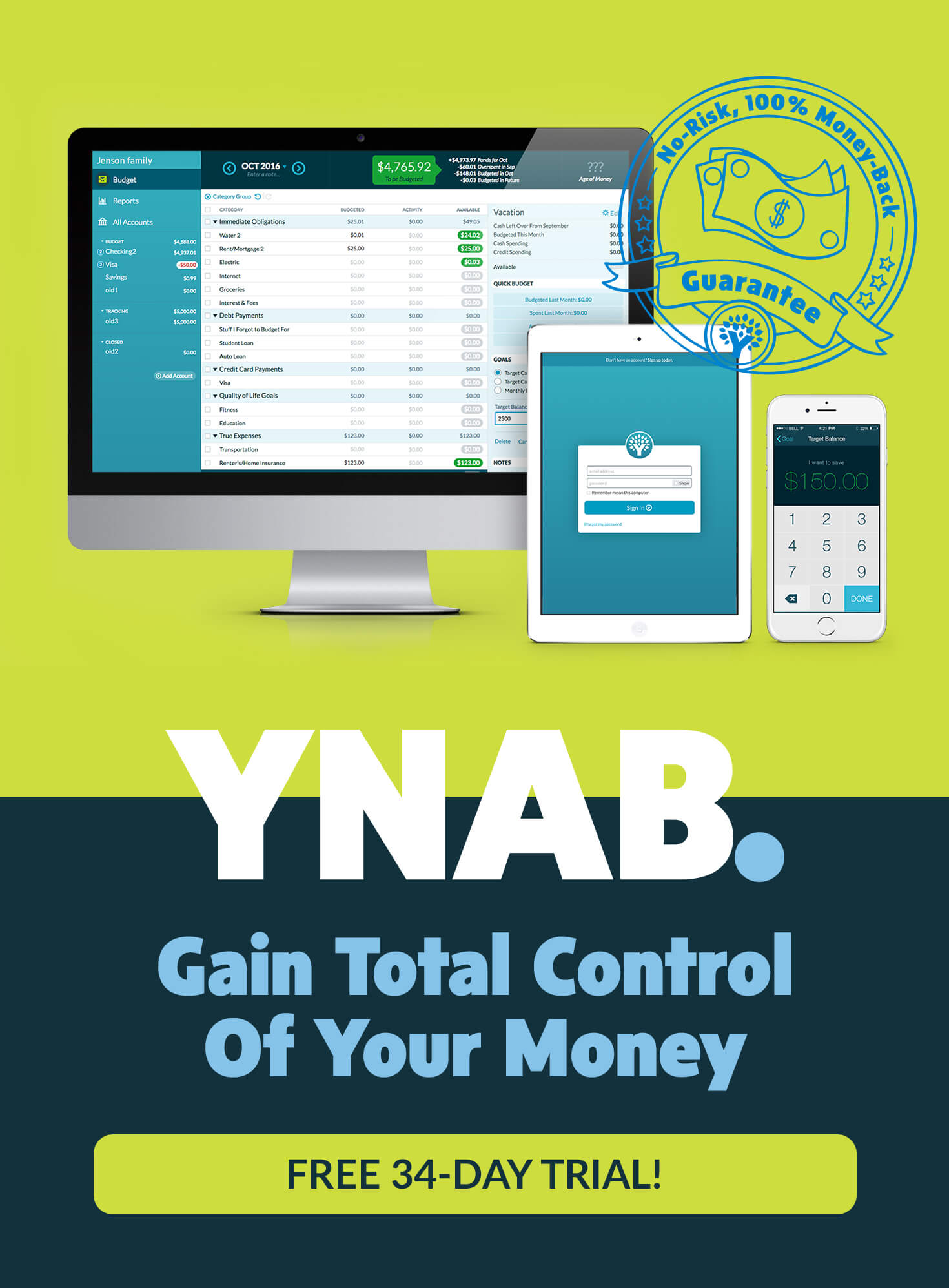 YNAB. No-Risk, 100% Money-Back Guarantee. FREE 34-Day Trial!